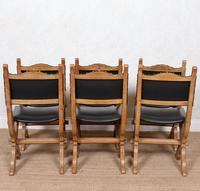 6 Oak Gothic Dining Chairs Carved (12 of 14)