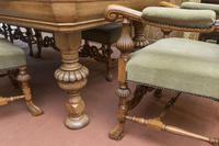 English Blonde Oak Dining Table  and 10 Matching Chairs (2 of 6)