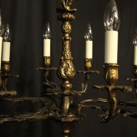 French Gilded Brass 10 Light Antique Chandelier (4 of 10)