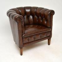 Pair of Antique Swedish Leather Chesterfield Armchairs (3 of 12)