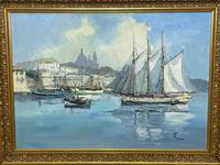Dutch Oil Painting Fishing Harbour Channel Coast Signed Bernhard Laarhoven (5 of 34)