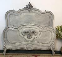 Antique French Double Bed Frame & Pot Cupboard Painted in Weathered Grey (8 of 12)