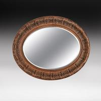 Large 19th Century Swedish Oval Carved Oak Mirror by A Lundmark (2 of 9)