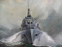 Oil on Board The Battle Ship Listed Artist Dion Pears (11 of 12)