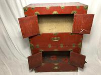Pair of Late Qing Antique Chinese Dowry Marriage Wedding Brass Bound Red Lacquer Chests (31 of 54)
