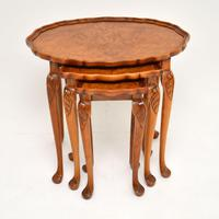 Antique Burr Walnut Pie Crust Nest of Tables (3 of 8)