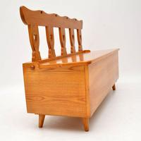 1950's Vintage Solid Elm Pair of Side Chairs & Bench (8 of 12)