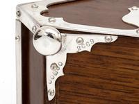 Unusual Shape Victorian Oak and Silver Plated Sugar Scuttle (5 of 10)