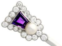 1.71ct Amethyst, 1.90ct Diamond & Pearl, 18ct Yellow Gold Thistle Pin Brooch - Antique c.1920 (4 of 9)