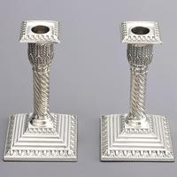 Good Pair of Silver Candlesticks by Walker & Hall London 1895 (10 of 11)