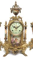 Vintage Sevres Mantel Clock Garniture 8 Day Striking Ormolu Mantel Clock (11 of 14)