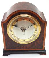Impressive Amboyna Burr Walnut Edwardian Timepiece Mantel Clock by Dent London (2 of 10)