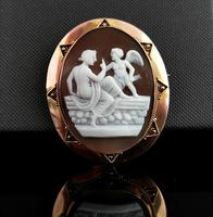 Antique Victorian Cameo Brooch, 9ct Gold, Cupid (2 of 10)