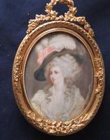 Miniature Portrait Duchess of Devonshire Ormolu Easel Backed Frame (4 of 4)