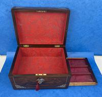 William IV Rosewood Jewellery Box Inlaid with Beautiful Mother of Pearl (12 of 14)