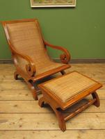 Vintage British Colonial Style Teak & Cane Plantation Chair & Footstool (16 of 17)