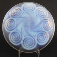 Large Art Deco Opalescent Glass Charger in Geometric Design by Etling c.1930 (7 of 8)