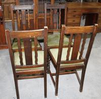 1940s Set 4 Oak Barley Twist Dining Chairs with Green Seats (2 of 3)