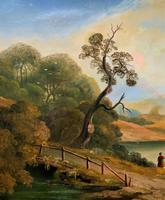 Large Stunning 19thc Arcadian Landscape Oil Painting in the 18th Century manner (6 of 13)