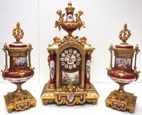 Incredible French Sevres Mantel Clock French Striking 8-day Garniture Clock Set (6 of 19)