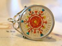 Vintage Pocket Watch Chain Florin Fob 1967 Lucky Silver & Enamel Two Shilling Fob (7 of 10)