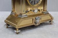 French Belle Epoque Brass & Silver Gilt Mantel Clock (3 of 9)