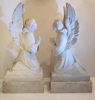Pair of 19th Century White Marble Statues of Angels (2 of 8)