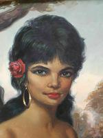 Large Decorative Portrait Oil Painting Gypsy Girl Wearing Gold Earring (3 of 12)