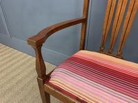 Arts & Crafts Inlaid Oak Bench (7 of 12)