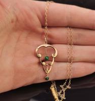 Antique Art Nouveau Turquoise Lavalier Pendant, 9ct Rose Gold, Necklace (4 of 10)