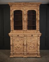 Carved Raw Oak Glazed Bookcase (3 of 21)
