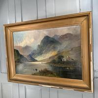 Antique large Scottish landscape oil painting of cottage by loch signed Montgomery Ansell (10 of 10)