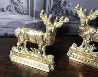 Pair of Victorian Cast Brass Stags (4 of 9)