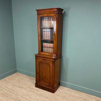 Tall Slim Victorian Mahogany Antique Bookcase on Cupboard (3 of 10)