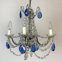 Vintage French Chandelier 4 Arm Crystal Ceiling Light with Sapphire Blue Glass (7 of 13)