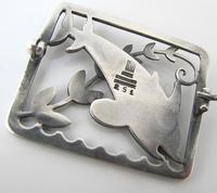 Beautiful Georg Jensen Vintage Silver Arno Malinowski Dolphin Design Brooch c.1930 (3 of 3)