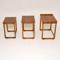Original Art Deco Figured Walnut Nest of Tables (2 of 11)