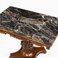 Anglo-Indian Mahogany Table with Nero Portoro Marble top by White & Co Calcutta (5 of 7)