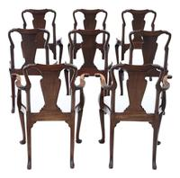 Set of 8 Mahogany Dining Chairs Queen Anne revival c.1910 (11 of 11)
