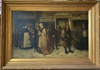 Substantial 19th Century Flemish Oil Painting of Locals in Brugge by Dumont (3 of 21)