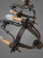 Antique French Chateau Pair of Gothic Medieval Large Wrought Iron Wall Lights (8 of 10)