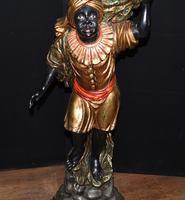 Pair of Venetian Blackamoor Figurines - Antique Clam Shell Planter Stands (6 of 11)
