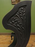 Antique Art Nouveau Black Writing Bureau Desk with Carvings, Lockable, Gothic (11 of 23)