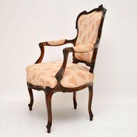 Antique French Carved Walnut Salon Armchair (3 of 10)