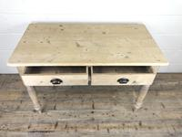 Antique Pine Two Drawer Farmhouse Kitchen Table (M-1340) (7 of 9)