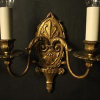French Gilded Brass Twin Arm Antique Wall Lights (2 of 10)