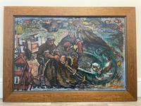 Expressionist Scottish Oil Painting Fishermen Hauling The Nets by Archibald Peddie Glasgow School of Art (3 of 37)