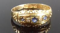 Late Victorian Diamond Blue Sapphire Dainty Gypsy Ring L 1/2 (3 of 11)