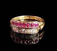 Antique Victorian Ruby, Diamond and Pearl Ring, Double Row, 15ct Gold (11 of 12)
