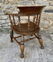 Antique Elm Captains Chair or Smokers Bow (5 of 14)